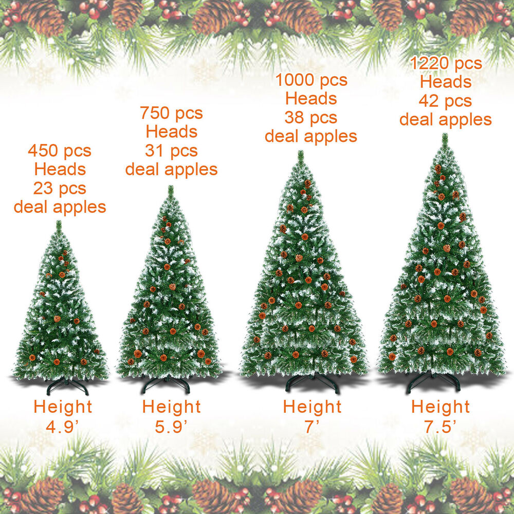 5/6/7/7.5ft Snow Tipped Artificial Christmas Tree W Base