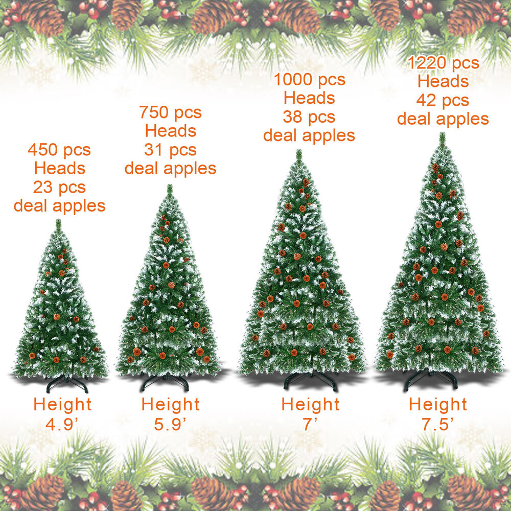 Christmas Berry Tree Hawaii: 5/6/7/7.5ft Snow Tipped Artificial Christmas Tree W Base