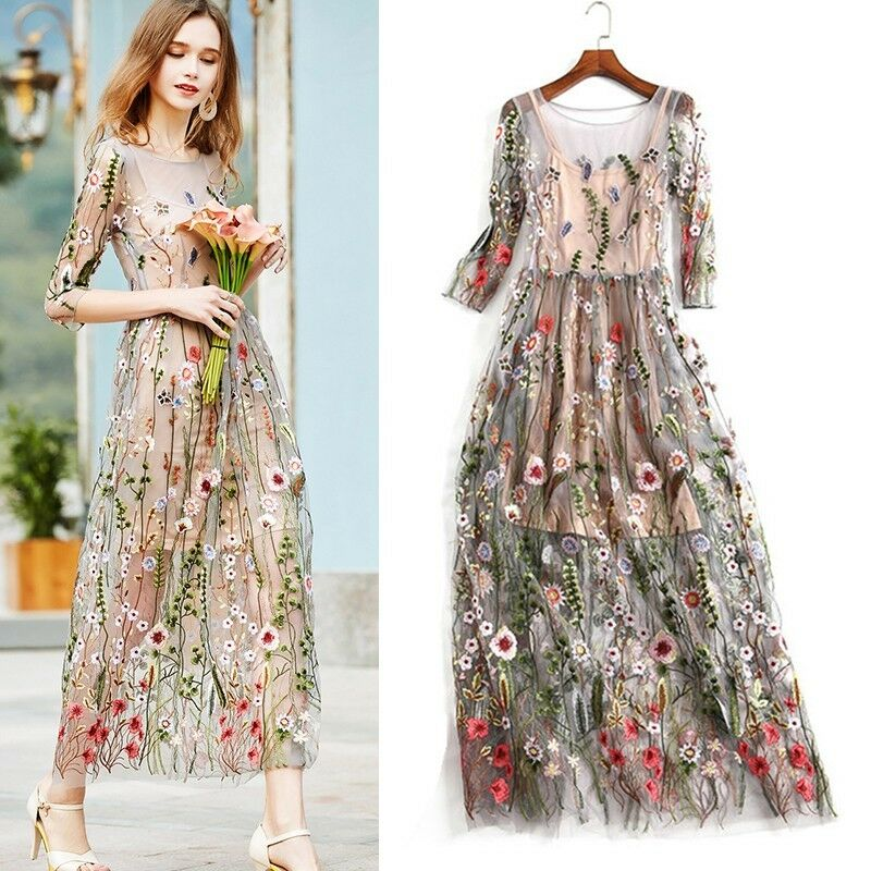 women dress embroidered lace floral long sheer mesh