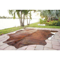 Kyпить Brindle Rodeo Cowhide Rug Hair on authentic leather rug size approx 6x7 ft  на еВаy.соm