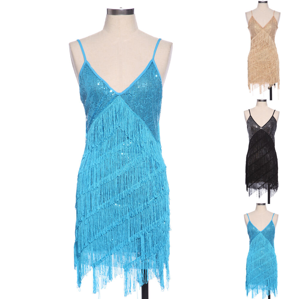 Retro 20s 30s Flapper Sequin Fringed Costume Cocktail Party Dance ...