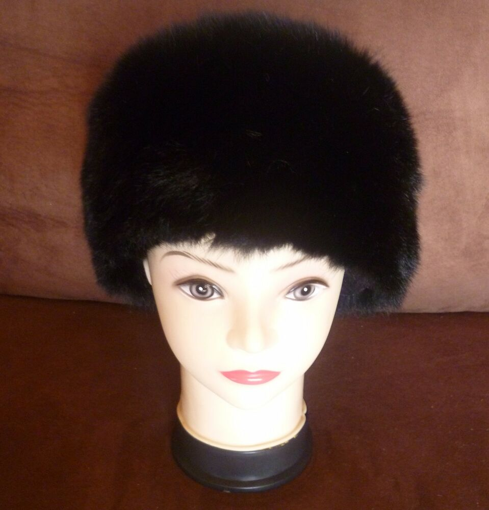 445a21571ee Details about New Zealand Possum Fur Dyed Black Pillbox Hat