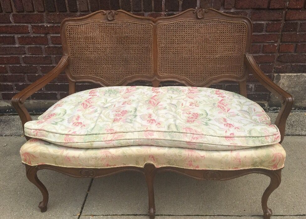 Vintage French Provincial Shabby Chic Double Caned Sofa Couch Settee B |  EBay