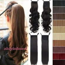 US Curly Wavy Binding/Tie Up Ponytail Clip In On Hair Extensions As Human LZY