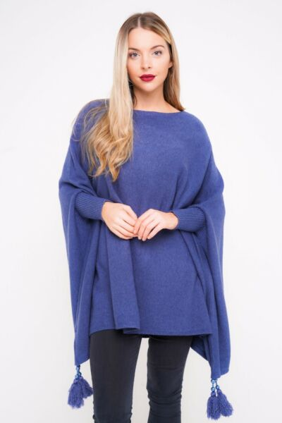 New Oversized Ladies Italian Boxy Lagenlook Poncho Look Drape Sides Jumper Top