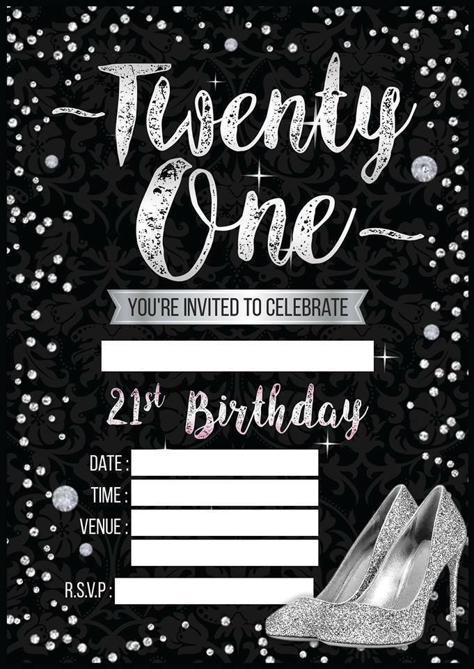 LADIES 21ST BIRTHDAY PARTY INVITATIONS WOMES INVITES BLACK ...