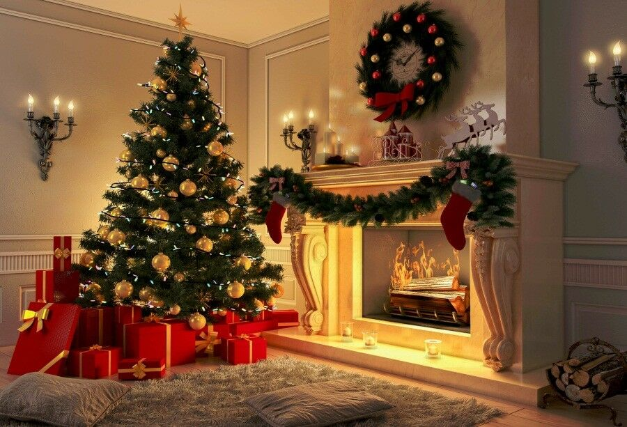 Vinyl Photography Backdrops Christmas Tree Fireplace ...