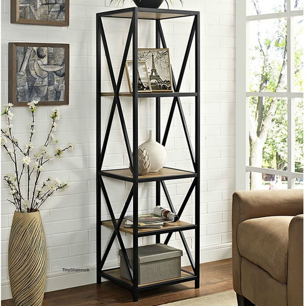 Tall Bookcase Wood Metal Shelf Narrow Shelves Rustic Industrial Style 5  Tier NEW | EBay