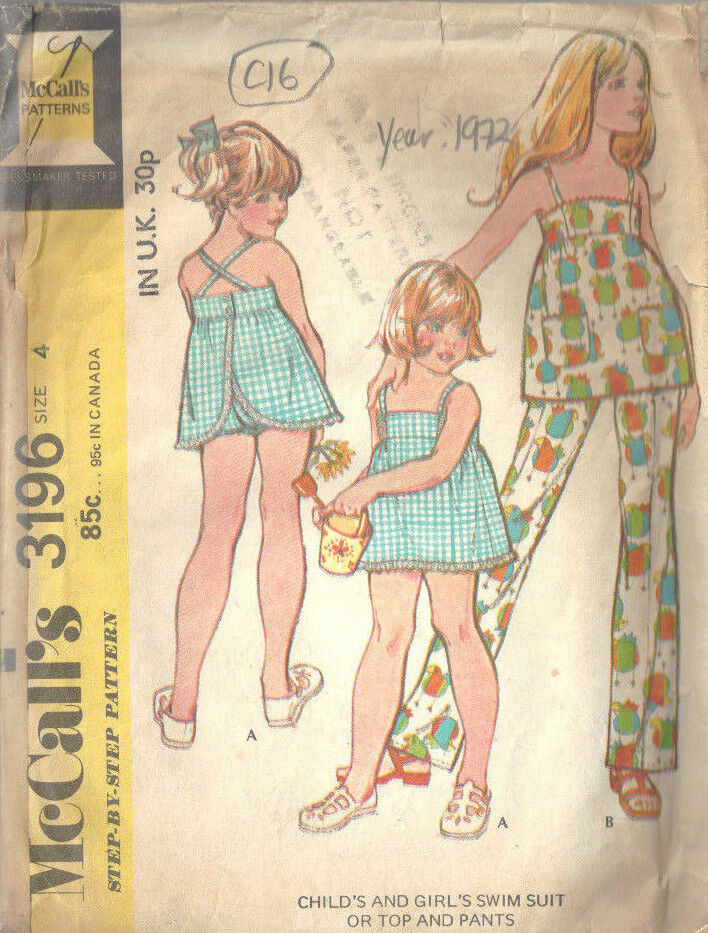 Details about 1972 Childrens Vintage Sewing Pattern S4 B23
