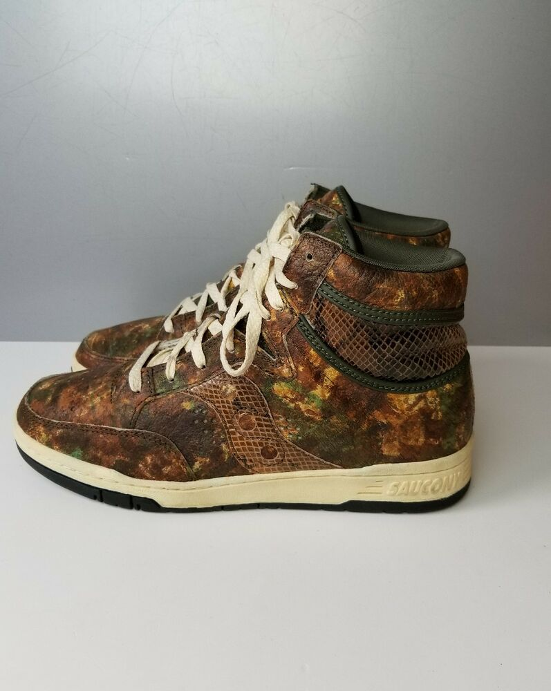 eebc5ebbdbeb Details about SAUCONY X PACKER SHOES HANGTIME HI WOODLAND SNAKE GREEN CAMO  701272 SIZE 9.5 US