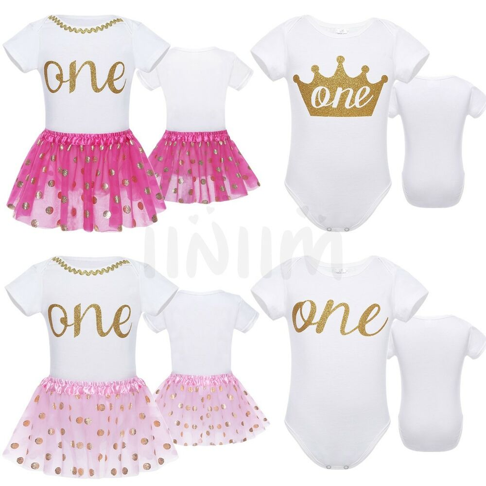 315334e205b5 Details about baby girls 1st birthday one year party romper bodysuit tutu  skirt dress outfits
