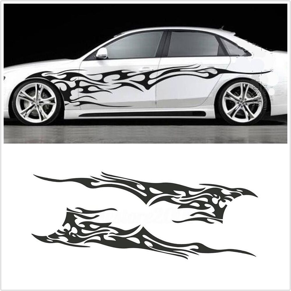 Details about universal flame graphics stripes sticker washable fashion design car body side