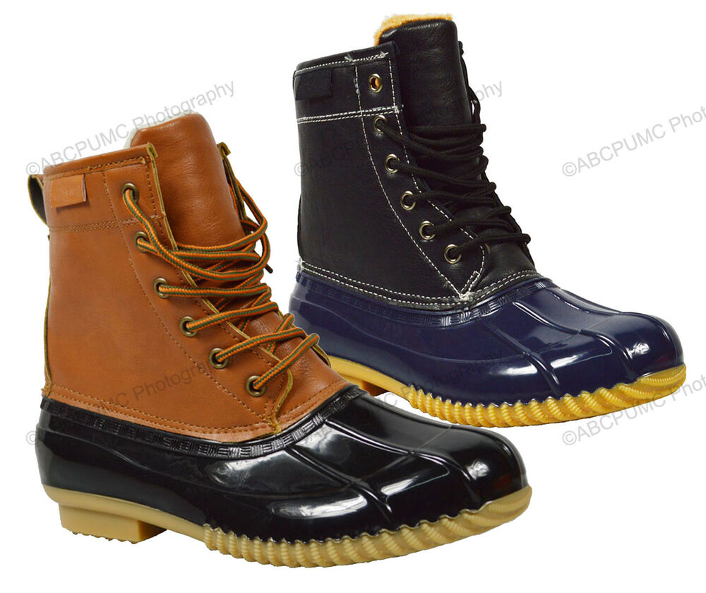 Womens Duck Boots Insulated Waterproof Hiking Lace Up Calf