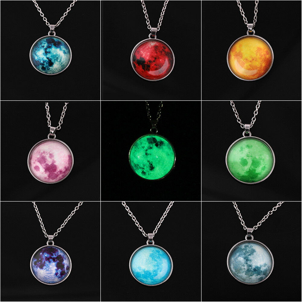 Women Full Moon Rising Moon Pendant Necklace Glow In The