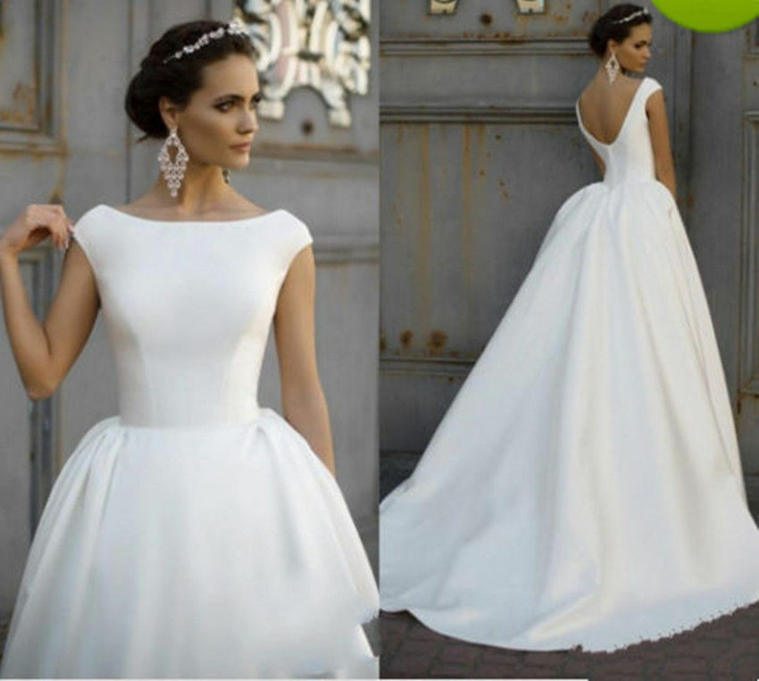 Jieruize White Simple Backless Wedding Dresses 2019 Ball: White/Ivory Satin A Line Wedding Dresses Cap Sleeve Bridal