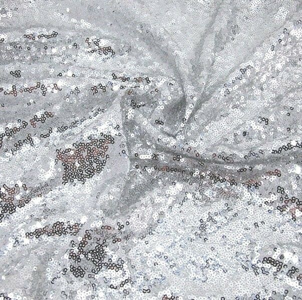 Silver Sequin Fabric Sparkly Shiny Bling Material Cloth ...