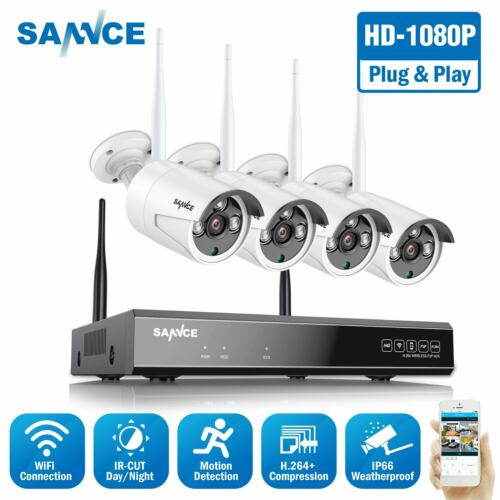 SANNCE 4CH Wireless Security IP Camera System 1080P NVR Outdoor WIFI CCTV Video