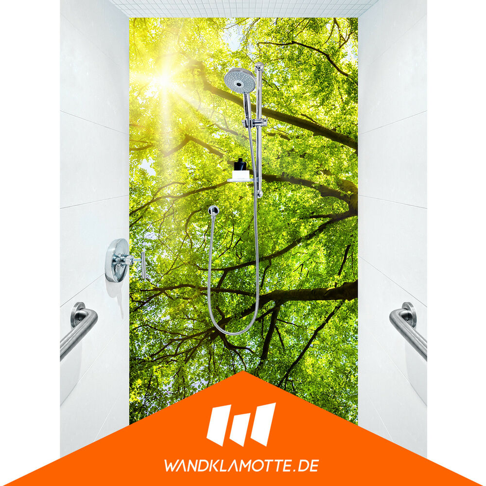 duschr ckwand eine platte acryl plexi glas dusche bad wand spring leafs ebay. Black Bedroom Furniture Sets. Home Design Ideas