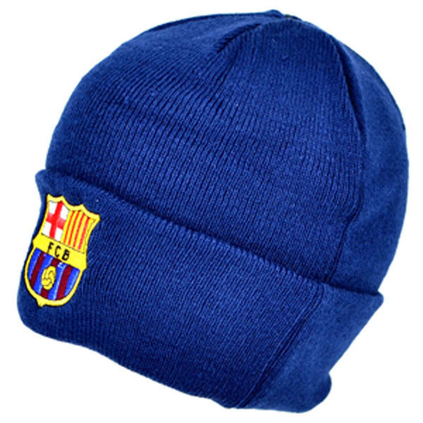 bd80d40ab59 FC BARCELONA NAVY CUFF KNITTED CREST HAT CAP WINTER FOOTBALL NEW ...