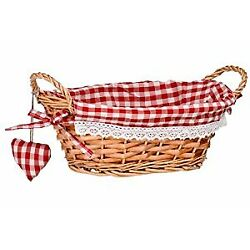 Oval Willow Basket with Gingham Lining - Red