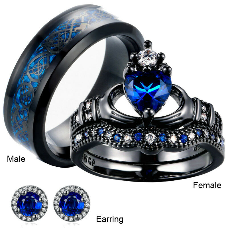 His And Hers Matching Bridal Set Blue Sapphire Wedding Ring Set+One Pair  Earring | EBay