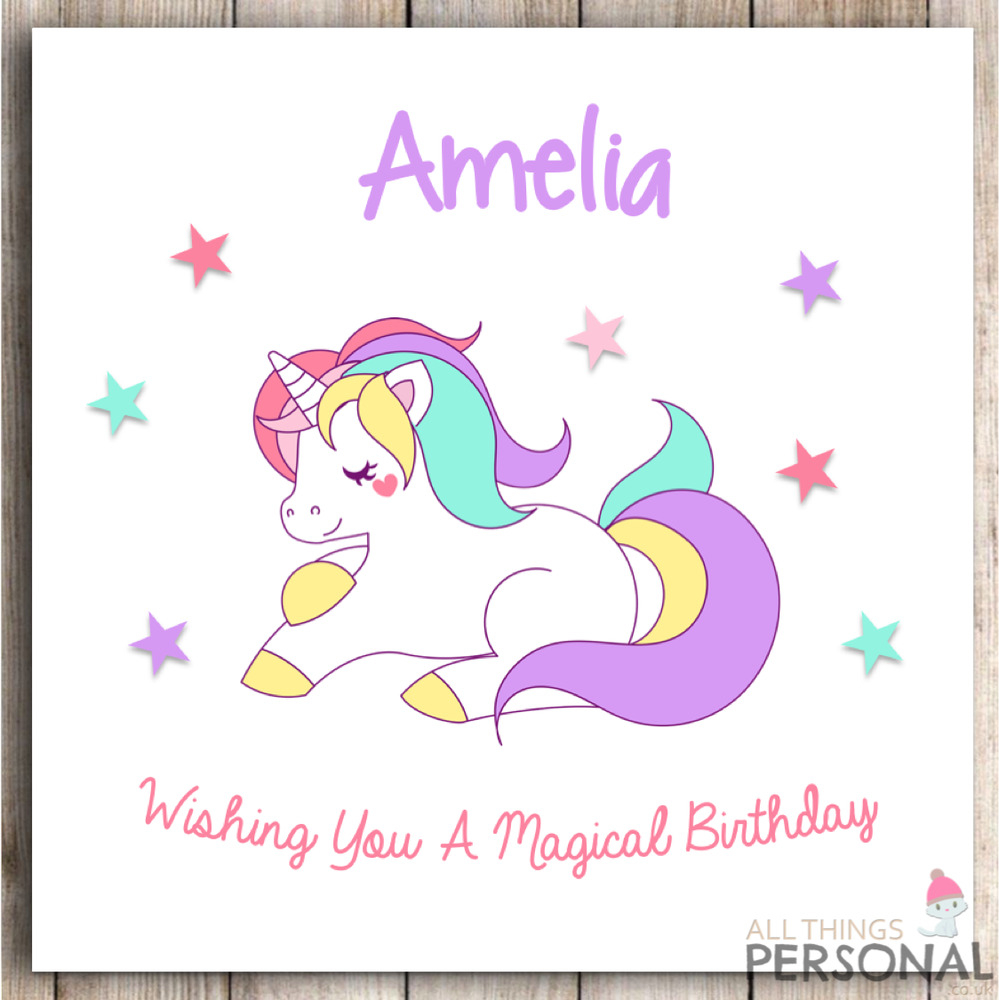 Personalised Unicorn Birthday Card Daughter Niece Granddaughter Sister Girl 8438506010728
