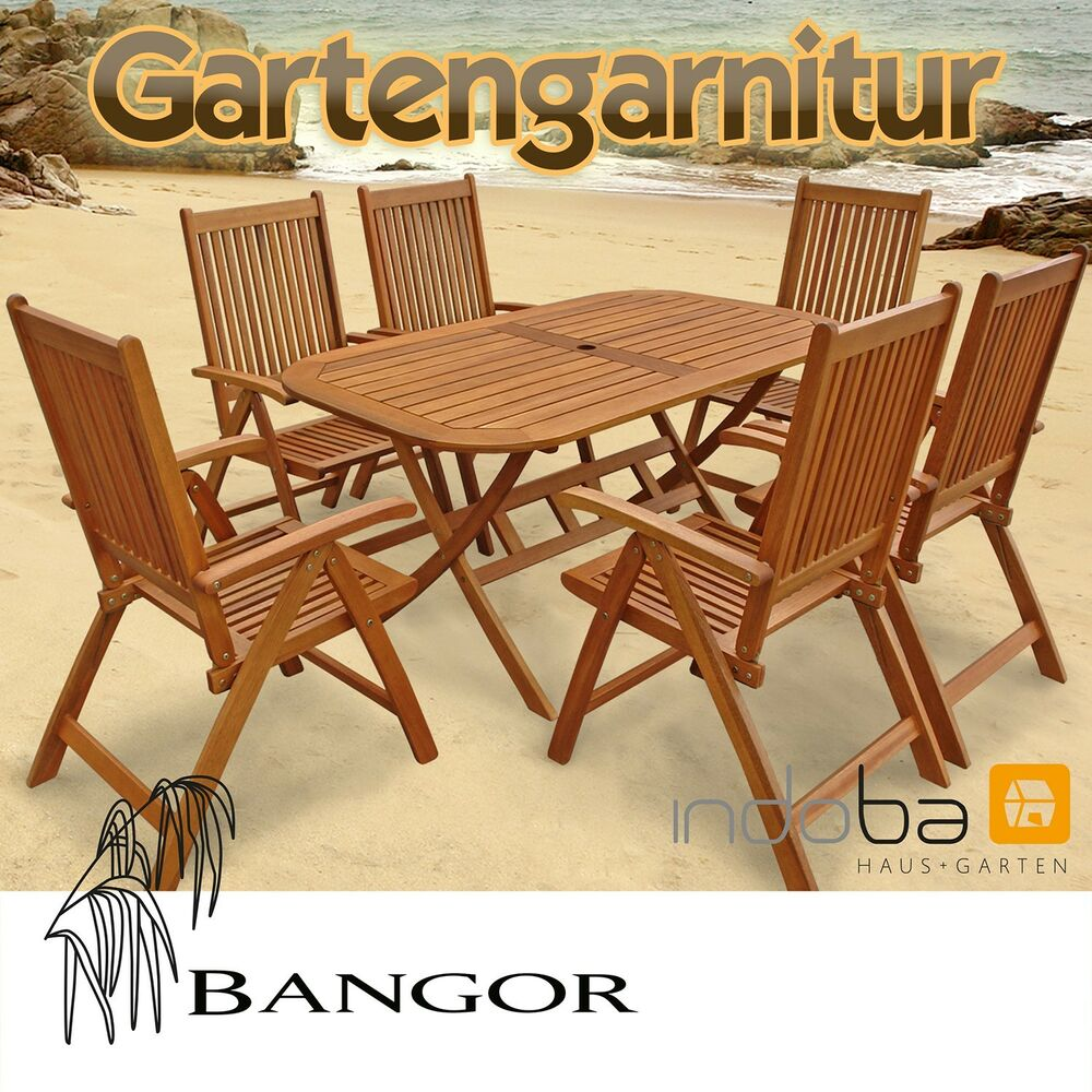 gartenm bel set garnitur 7 tlg holz 6 st hle tisch serie bangor von indoba ebay. Black Bedroom Furniture Sets. Home Design Ideas