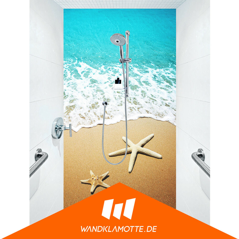 duschr ckwand eine platte alu bad dusche wand carribean starfish ebay. Black Bedroom Furniture Sets. Home Design Ideas