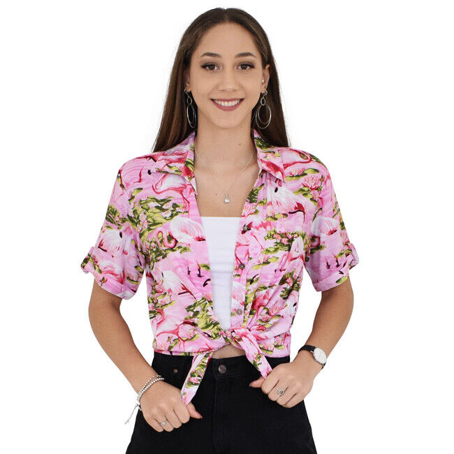 644811a84001c Pink Flamingo Loud Ladies Hawaiian Shirts