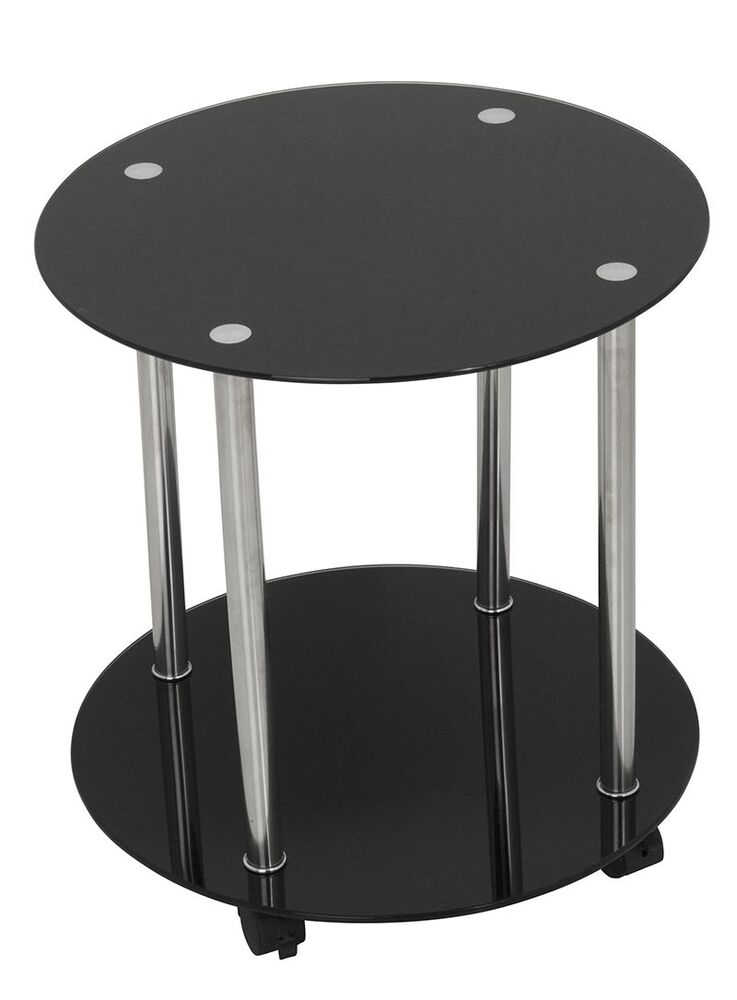 Black Glass Round Side Table Gloss Lamp End Table Metal