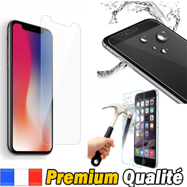 Vitre iPhone X/8/7/SE/6/5/S/C/4 Plus protection verre trempé protège écran Apple
