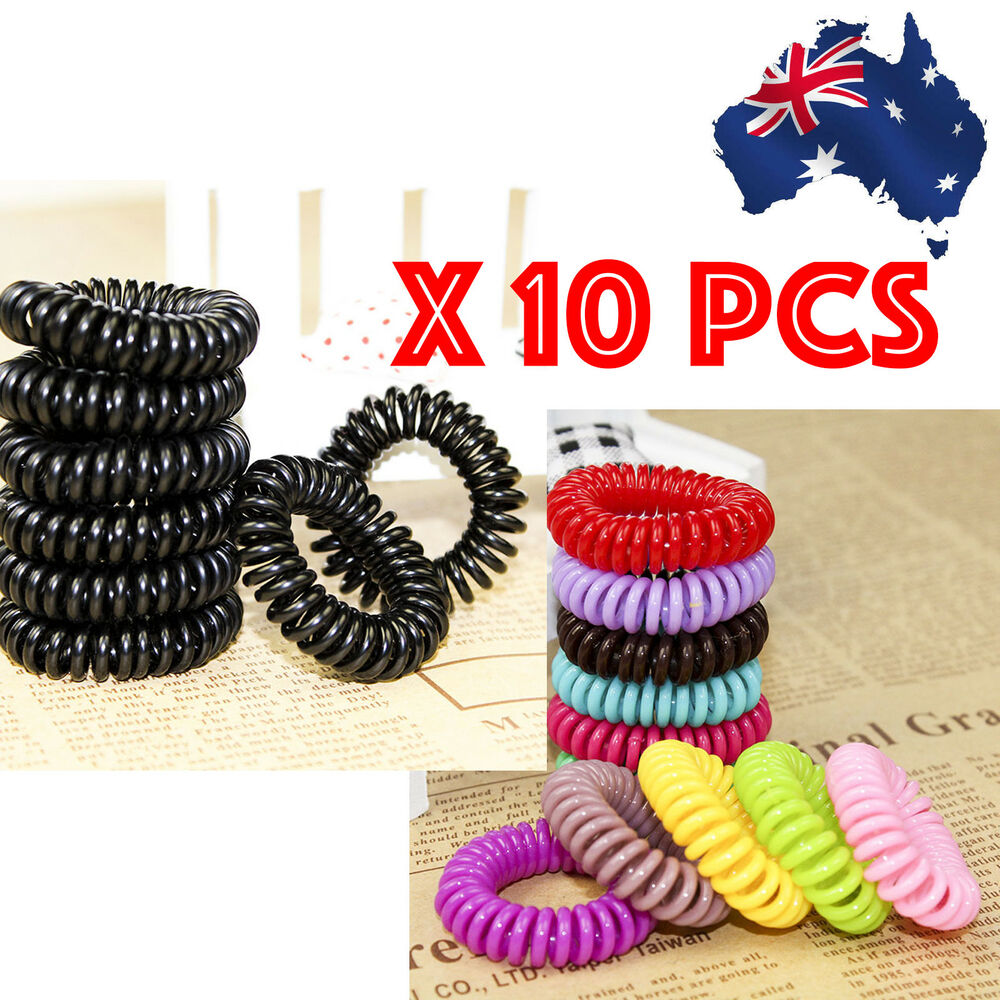 Details about 10 Pcs Women Girl Lady Elastic Rubber Spiral Bungee Plastic  Hair Tie Band LARGE e326243cf67