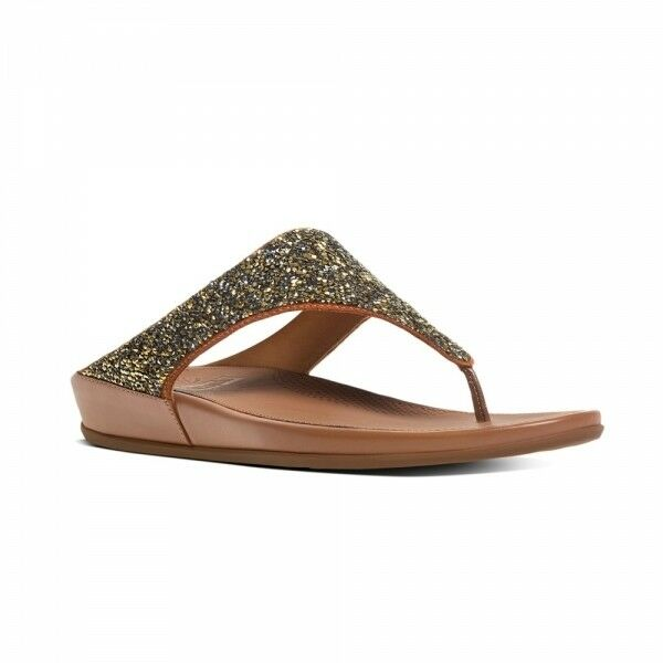 adfef2251cb0b6 Details about FitFlop™ BANDA CRYSTAL™ Ladies Womens Toe Post Embellished  Comfy Sandals Bronze