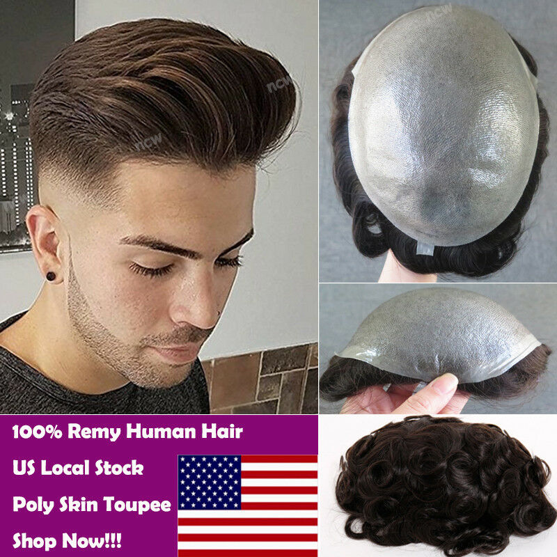Us Stock Thin Skin Mens Toupee Human Hair Replacement