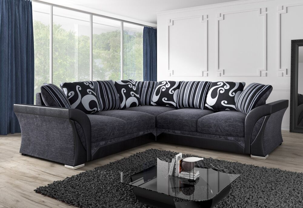 NEW LARGE SHANNON SOFA CORNER 5 Or 4 SEATER GREY BLACK