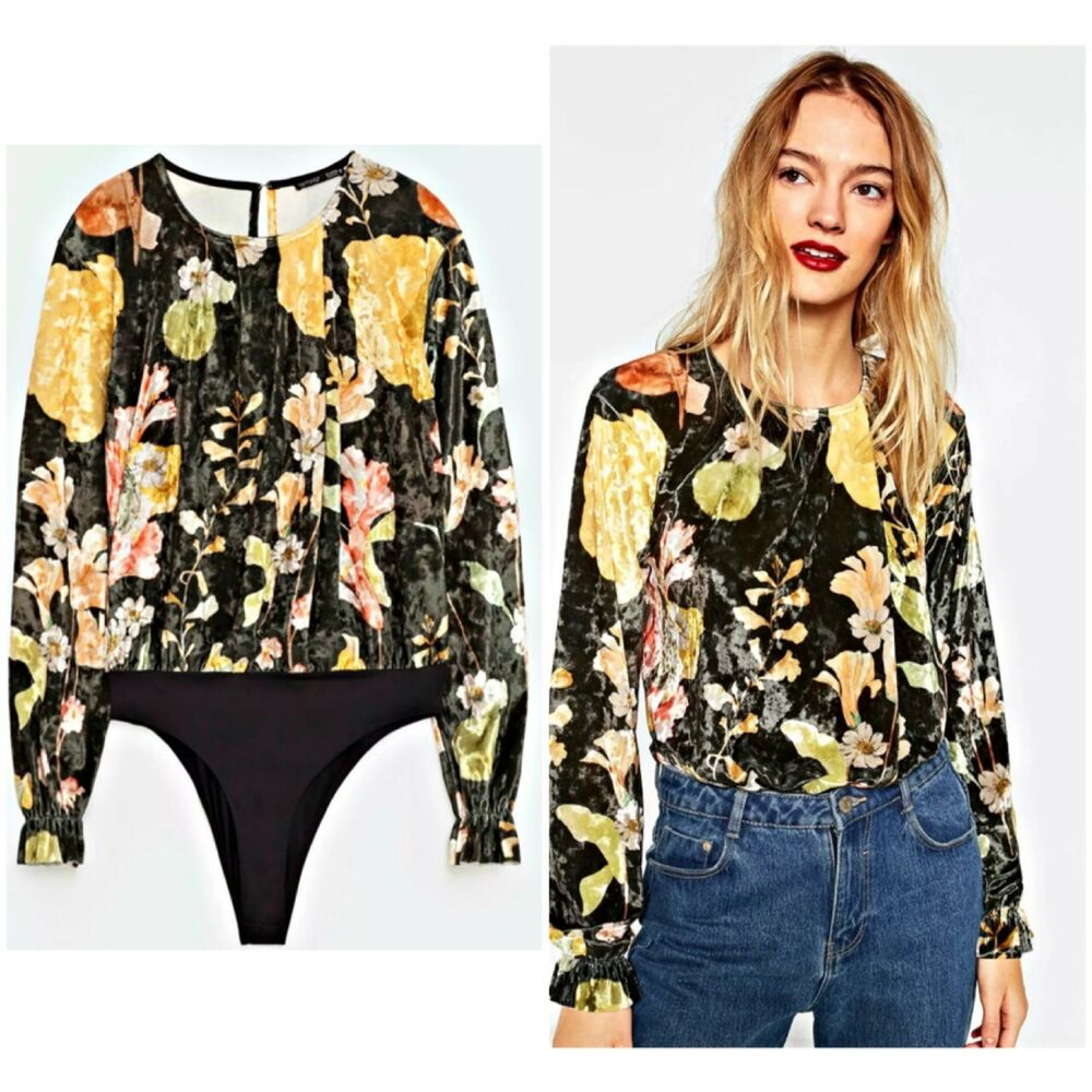 7beee44e9f8bc2 Details about NWT ZARA FLORAL PRINT VELVET BODYSUIT TOP SHIRT BLOUSE  7568 267 FLOWER GREEN S