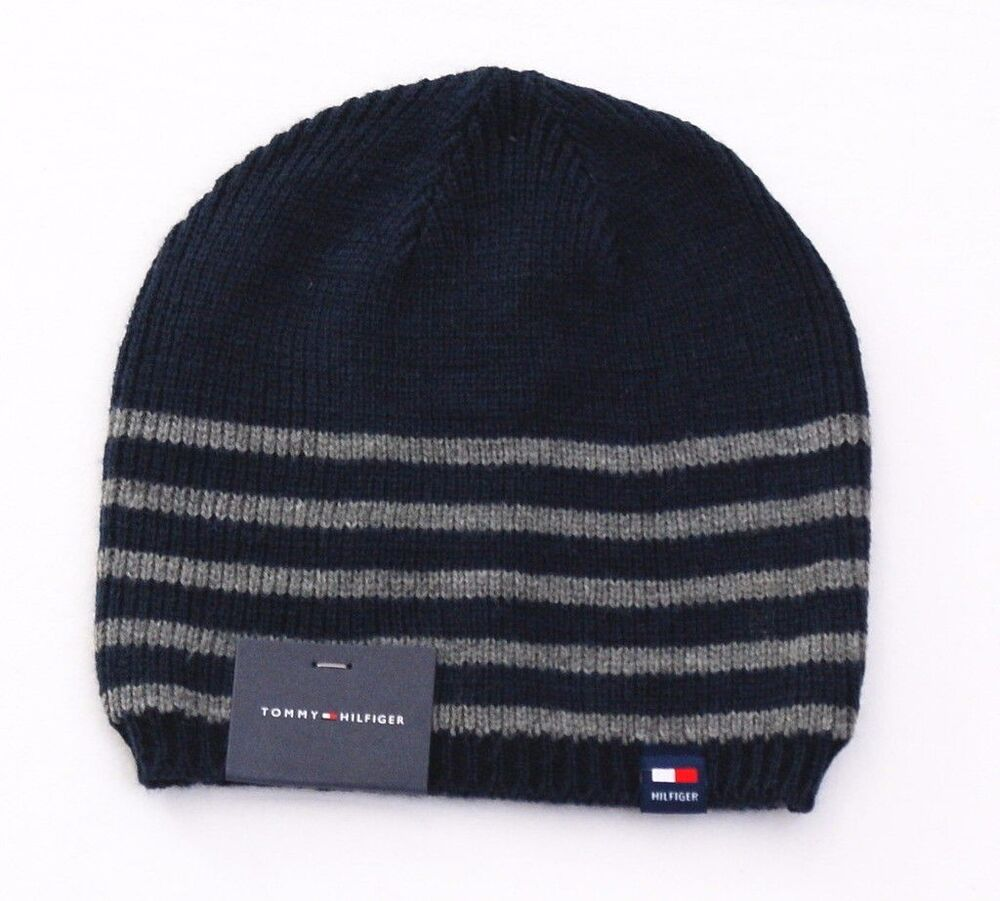 Details about Tommy Hilfiger Blue   Gray Stripe Knit Beanie Skull Cap Men s  One Size NWT ec68accf6f7