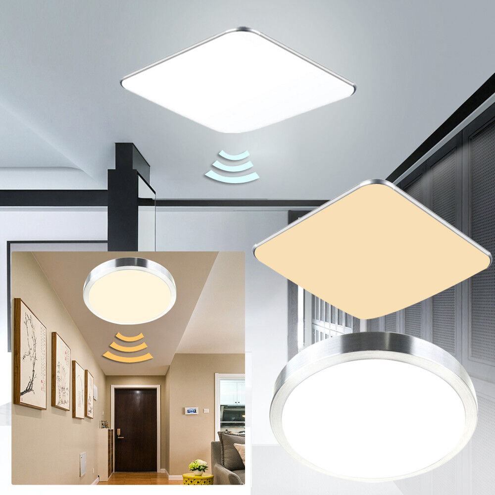 deckenleuchte led sensor sensorlampe k che flurlampe mit bewegungsmelder radar ebay. Black Bedroom Furniture Sets. Home Design Ideas