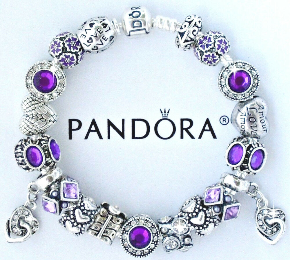 Authentic Pandora Silver Charm Bracelet With European
