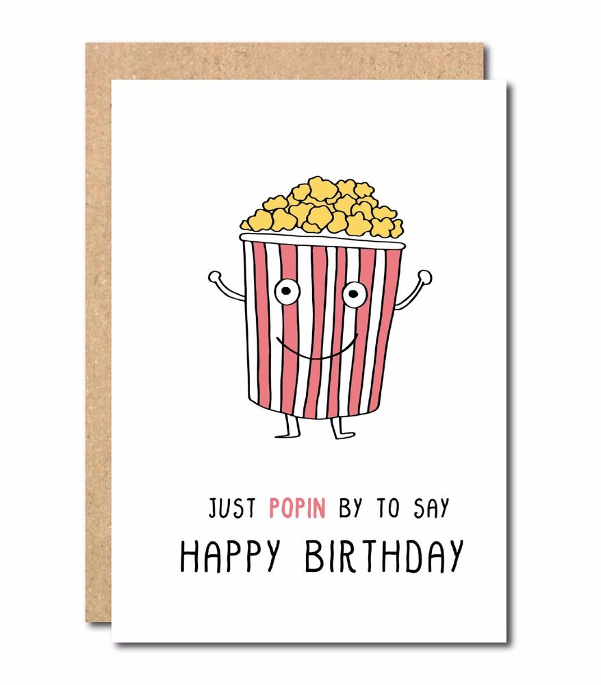 Funny Birthday Card For Friend Colleague Boss Sister Brother Popcorn Joke CUte