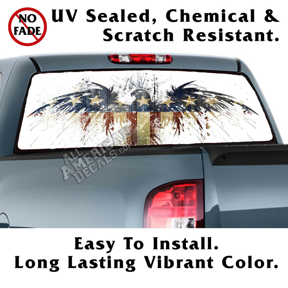 Details about aged american eagle flag back window graphic perforated window film decal nl