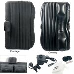 Auto Car Inflatable AirBed Mattress with Pillows for Back Seat Black with Baffle
