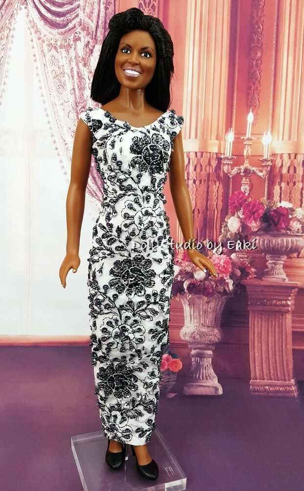 Black White Lace Dress Outfit Gown For Diana Marilyn Monroe Michelle