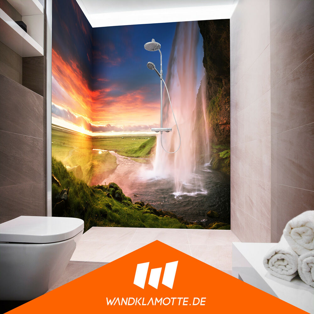 eck duschr ckwand zwei platten acryl glas dusche bad wand epic landscape ebay. Black Bedroom Furniture Sets. Home Design Ideas