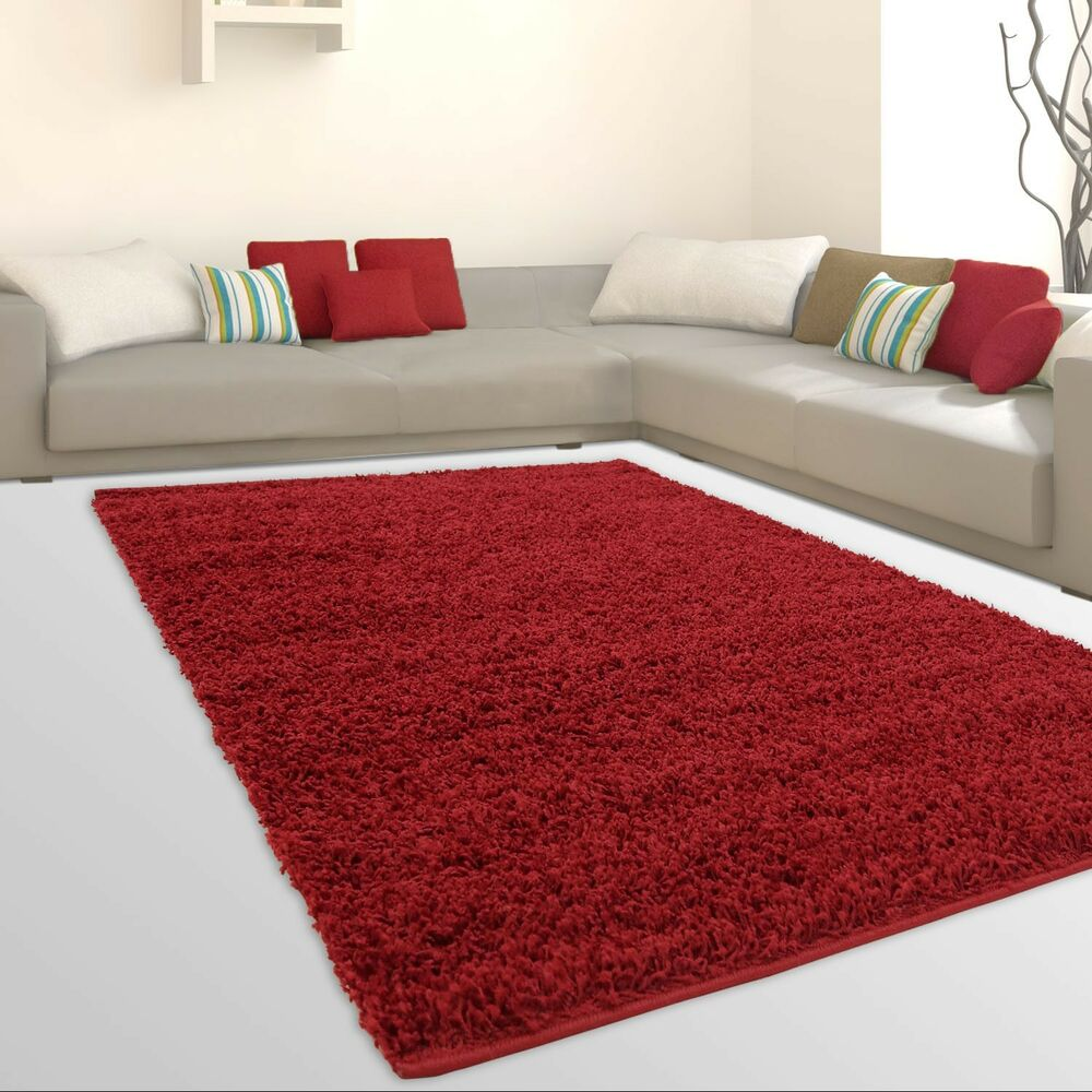 uni light shaggy teppich hochflor samtweich flokati einfarbig rot g nstig ebay. Black Bedroom Furniture Sets. Home Design Ideas