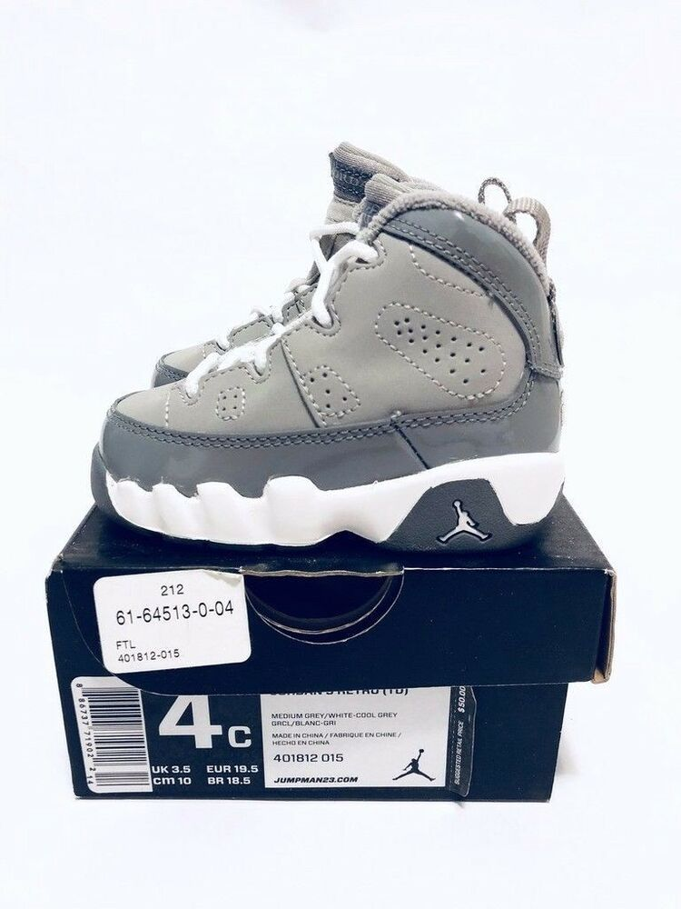 65a3d3d2aa8 Details about Brand New Nike Jordan 9 Retro (TD) Toddler IX Cool Grey 4c  401812-015