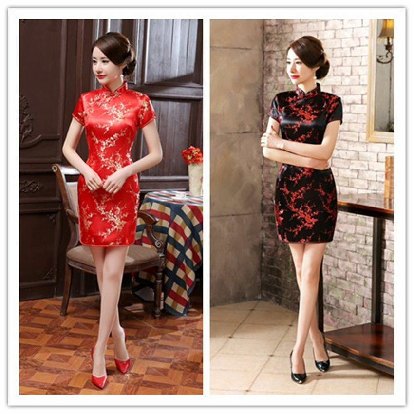 8fe0303ff Details about Traditional Chinese Women's Silk Satin Mini Dress Cheongsam  Qipao Black SZ S-3XL