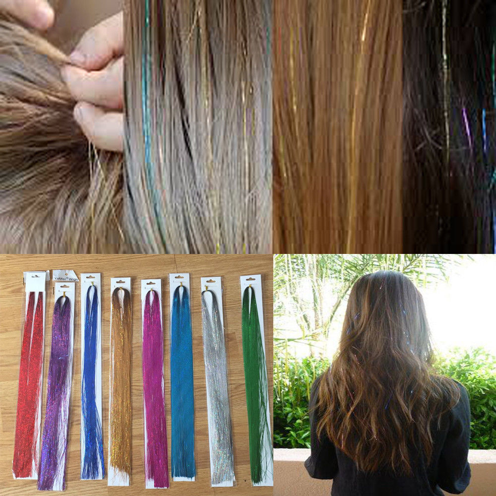 100 X Strands Holographic Sparkle Hair Glitter Party Tinsel