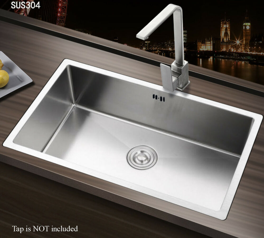 Square large handmade single bowl stainless steel - Square stainless steel bathroom sink ...