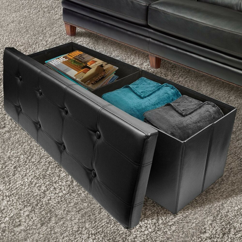 Amazing Hope Chest Storage Treasure Trunk Bedroom Blanket Box Modern Coffee Table  Black